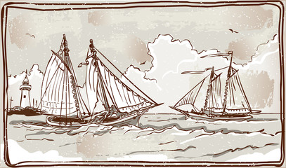 Vintage View of Sailing Ships on the Sea