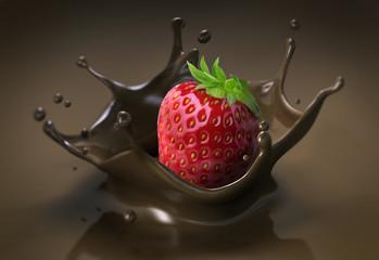Erdbeere auf Schoko-Splash