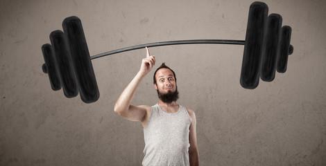 Funny skinny guy lifting weights © ra2 studio