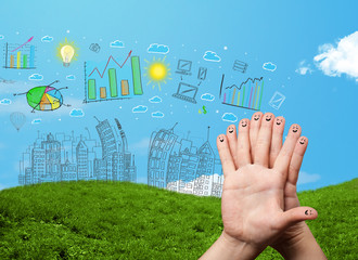 Happy smiley fingers looking at hand drawn urban city landscape