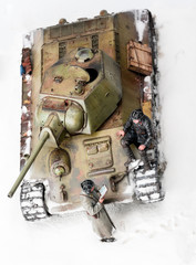 Diorama with old soviet t 34 tank. Top view