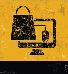 Shopping on line symbol on grunge yellow background