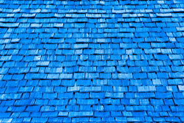 Blue shingles of wood for background