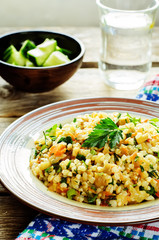 bulgur with eggplant and greens