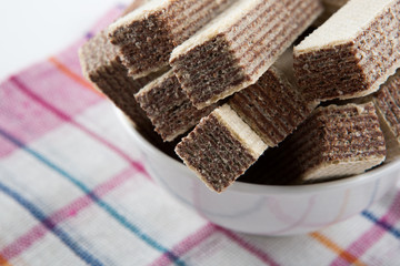 Wafer sticks into a bowl