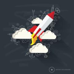 Rocket design on blackboard background,clean vector