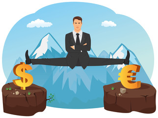 Businessman doing splits on symbols of currencies