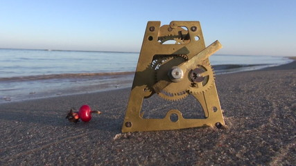 antique brass clock gears and rose hip on autumn sea beach sand