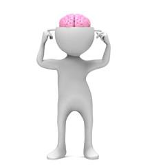 3d man with brain