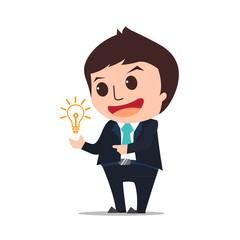businessman show idea cartoon eps 10 vector