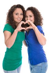 Zwillingspaar isoliert: Hand Zeichen mit Herz