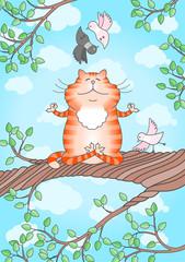 Cat practicing yoga