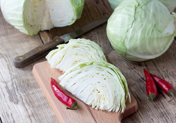 Cutted cabbage on cutting board