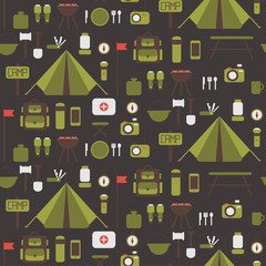 Seamless pattern of flat colorful vector camping equipment
