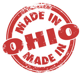 Made in Ohio Words Round Red Stamp Manufacturing Pride Badge Sta
