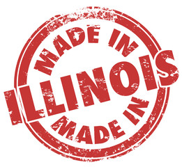 Made in Illinois Words Round Red Stamp Product Origin Pride