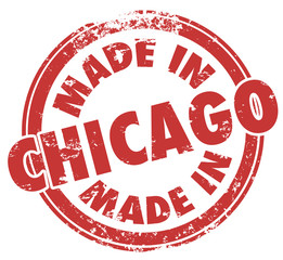 Made in Chicago City Words Round Red Stamp Pride Production