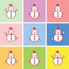 snowman graphic with happy, sad and boring emotions vector