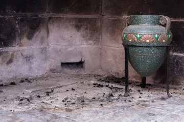 amphora in the fireplace