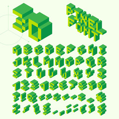 Isometric Pixel Font, Vector Letters, Alphabet