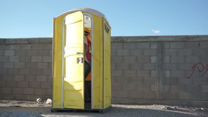 Male Construction Worker Portable Bathroom