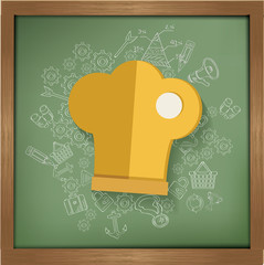 Hat cooking design on blackboard background,clean vector