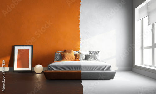 3d interor of orange-white bedroom - 71447830