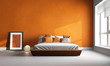 Leinwanddruck Bild - 3d render of orange bedroom