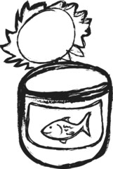 doodle Opened Fish Can