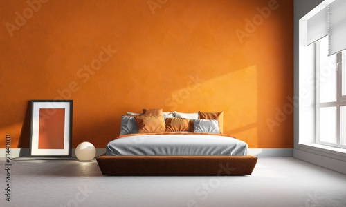 Fotobehang Stad gebouw 3d render of orange bedroom