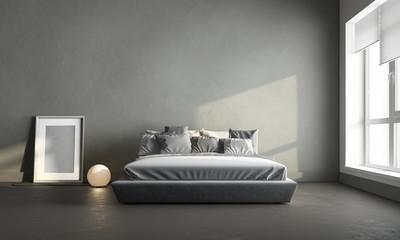3d render of gray bedroom