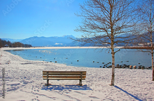 canvas print picture Winterruhe am Tegernsee