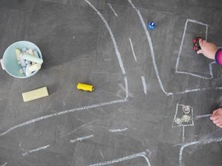 chalk kid street traffic