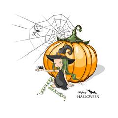 Halloween witches sitting near pumpkin.