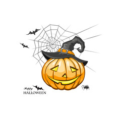Halloween pumpkin with black witches hat.