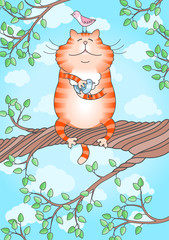 Illustration of a funny cat holding little bird in its paws