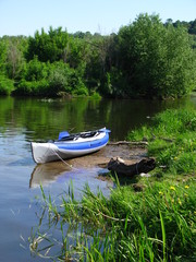 Kayaking at Osetr river, Moscow region, Russia