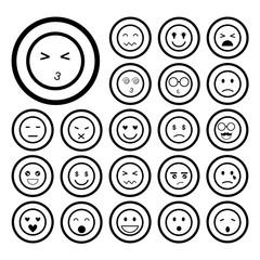 faces emoticon icons set