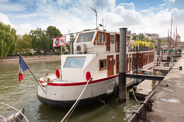 Old white ship, Seine river, Paris, France