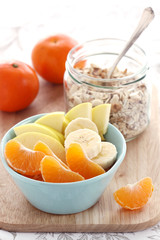 Fresh fruits and muesli breakfast