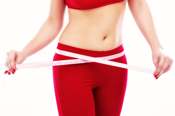 Closeup of woman waist with measuring tape healthy lifestyles co