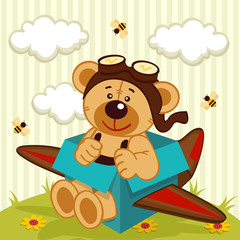 teddy bear made plane - vector  illustration, eps