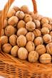 Walnuts in wicker basket