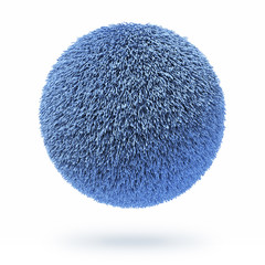 Blue fur carpet ball
