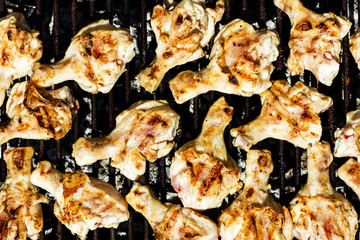Chicken meat on the grill