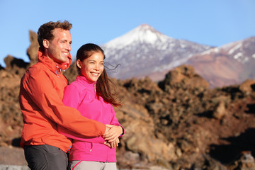 Happy couple in active lifestyle hiking