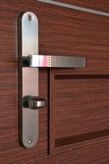 Modern chrome metallic door handle