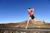 Fototapeta Sport running man - male runner training outdoors