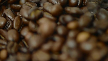 Roasted Coffee beans poured on white background