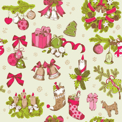 Seamless Christmas Pattern - hand drawn background - for design